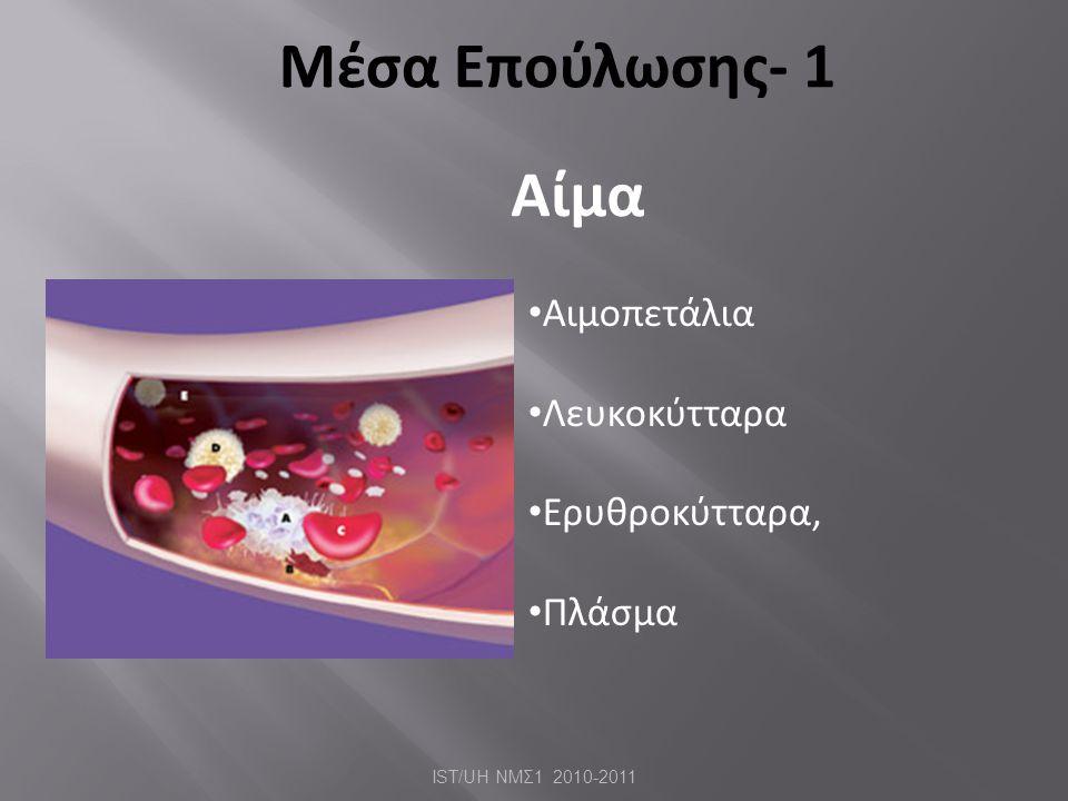 Μέσα Επούλωσης- 1 Αίμα • Αιμοπετάλια • Λευκοκύτταρα • Ερυθροκύτταρα, • Πλάσμα IST/UH ΝΜΣ 1 2010-2011