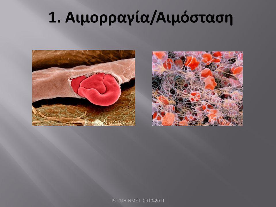1. Αιμορραγία/Αιμόσταση IST/UH ΝΜΣ 1 2010-2011