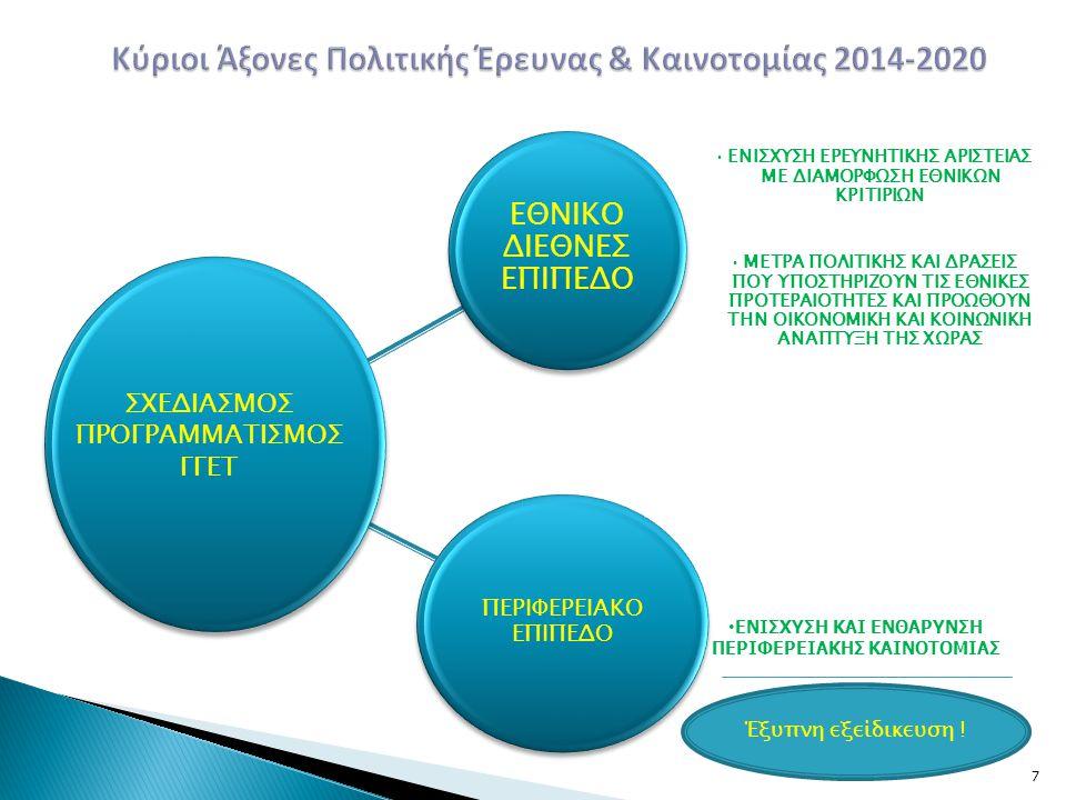 18 Άμεσοι Στόχοι 1.Επιτάχυνση της απορρόφησης του ΕΣΠΑ στο πλαίσιο απλοποιημένων διαδικασιών που στηρίζονται σε αμοιβαία εμπιστοσύνη μεταξύ των συμβαλλόμενων μερών 2.Διαβούλευση Σχεδίου Στρατηγικής 2014-2020 (Υπουργεία, Περιφέρειες, Ιδιωτικός Τομέας, Θεσμικοί Φορείς) 3.Διαπραγμάτευση με Ε.Ε.