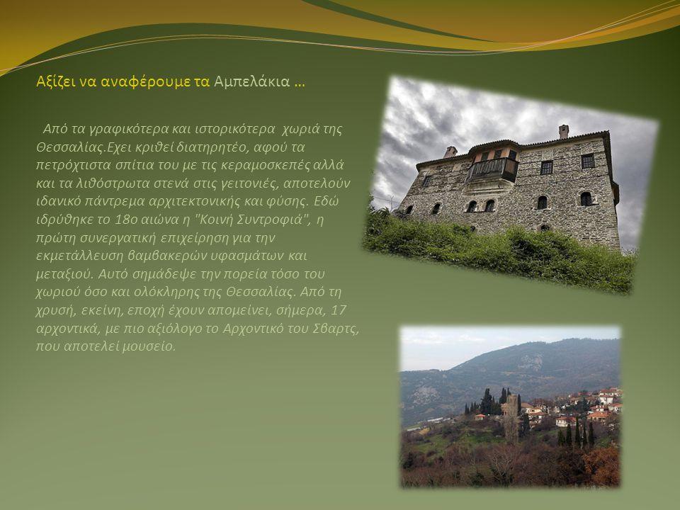 Αξίζει να αναφέρουμε τα Αμπελάκια … Από τα γραφικότερα και ιστορικότερα χωριά της Θεσσαλίας.Εχει κριθεί διατηρητέο, αφού τα πετρόχτιστα σπίτια του με