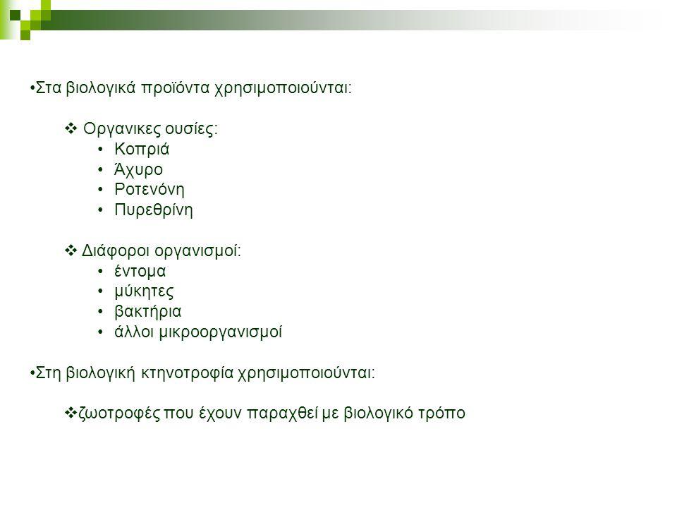 •Στα βιολογικά προϊόντα χρησιμοποιούνται:  Οργανικες ουσίες: •Κοπριά •Άχυρο •Ροτενόνη •Πυρεθρίνη  Διάφοροι οργανισμοί: •έντομα •μύκητες •βακτήρια •άλλοι μικροοργανισμοί •Στη βιολογική κτηνοτροφία χρησιμοποιούνται:  ζωοτροφές που έχουν παραχθεί με βιολογικό τρόπο