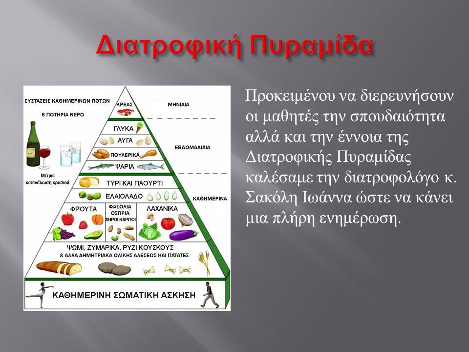 Η διατροφική πυραμίδα είναι ένα οπτικό εργαλείο για υγιεινή διατροφή. Η πυραμίδα βασίζεται σε επιστημονικά στοιχεία διαιτητικών προσλήψεων, θρεπτικών