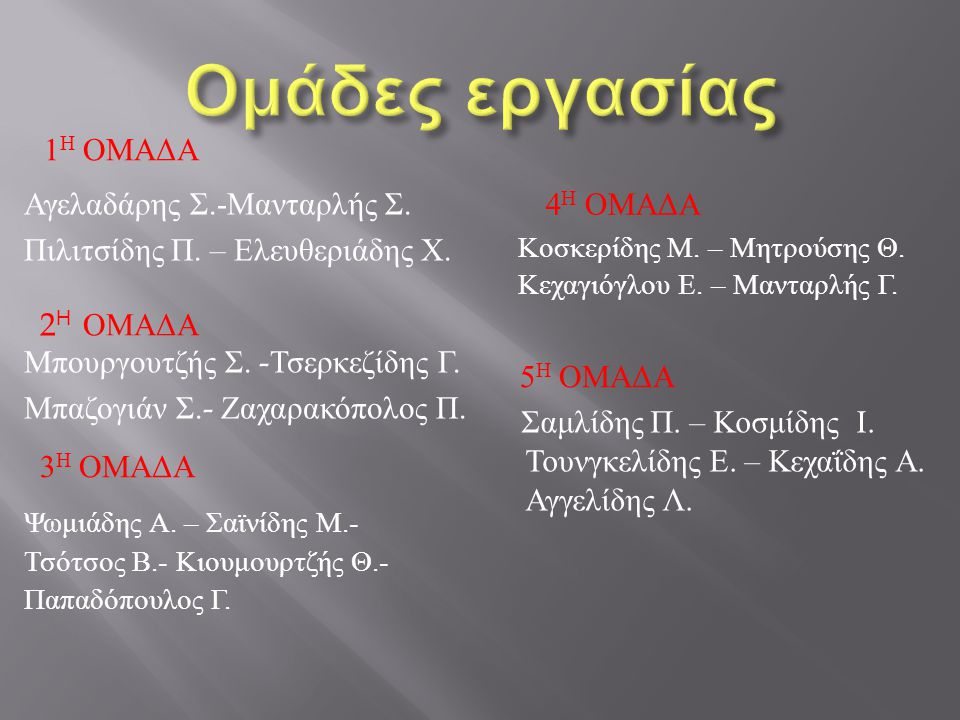 1 Η ΟΜΑΔΑ Αγελαδάρης Σ.- Μανταρλής Σ.Πιλιτσίδης Π.