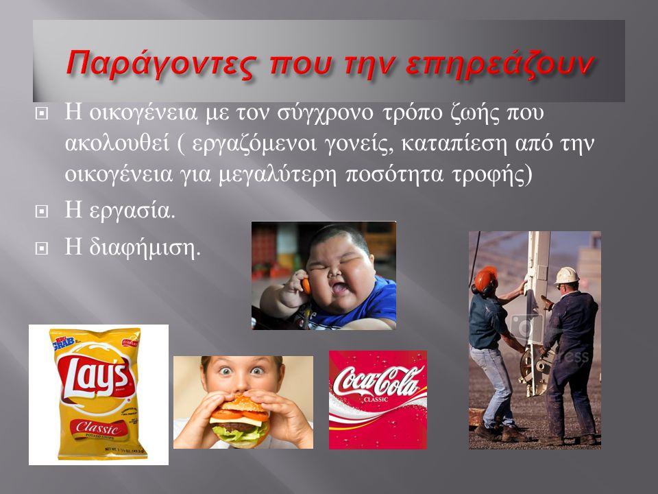  Η οικογένεια με τον σύγχρονο τρόπο ζωής που ακολουθεί ( εργαζόμενοι γονείς, καταπίεση από την οικογένεια για μεγαλύτερη ποσότητα τροφής )  Η εργασία.