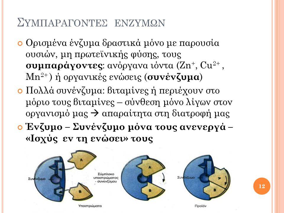 Σ ΥΜΠΑΡΑΓΟΝΤΕΣ ΕΝΖΥΜΩΝ Ορισμένα ένζυμα δραστικά μόνο με παρουσία ουσιών, μη πρωτεϊνικής φύσης, τους συμπαράγοντες : ανόργανα ιόντα (Zn +, Cu 2+, Mn 2+