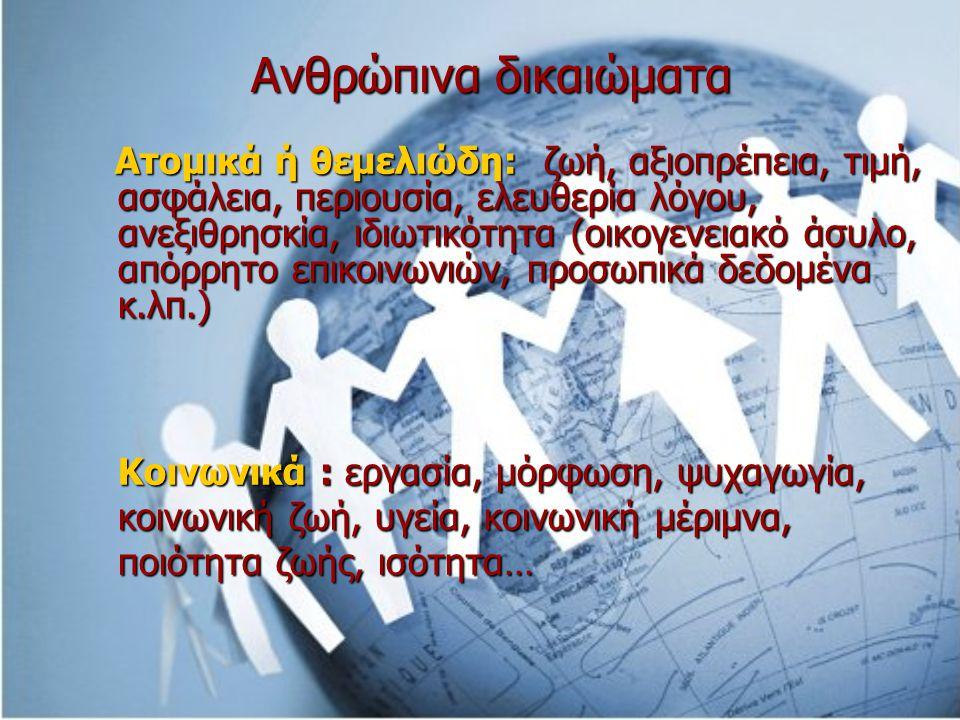 Ανθρώπινα δικαιώματα Ατομικά ή θεμελιώδη: ζωή, αξιοπρέπεια, τιμή, ασφάλεια, περιουσία, ελευθερία λόγου, ανεξιθρησκία, ιδιωτικότητα (οικογενειακό άσυλο