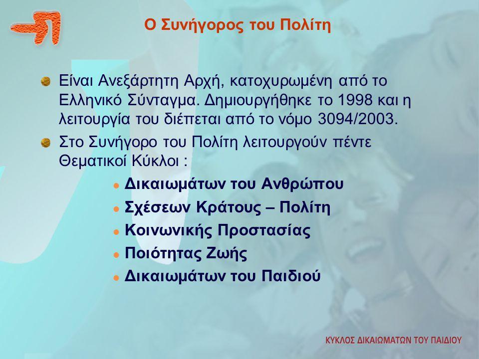 Ο Συνήγορος του Πολίτη Είναι Ανεξάρτητη Αρχή, κατοχυρωμένη από το Ελληνικό Σύνταγμα. Δημιουργήθηκε το 1998 και η λειτουργία του διέπεται από το νόμο 3