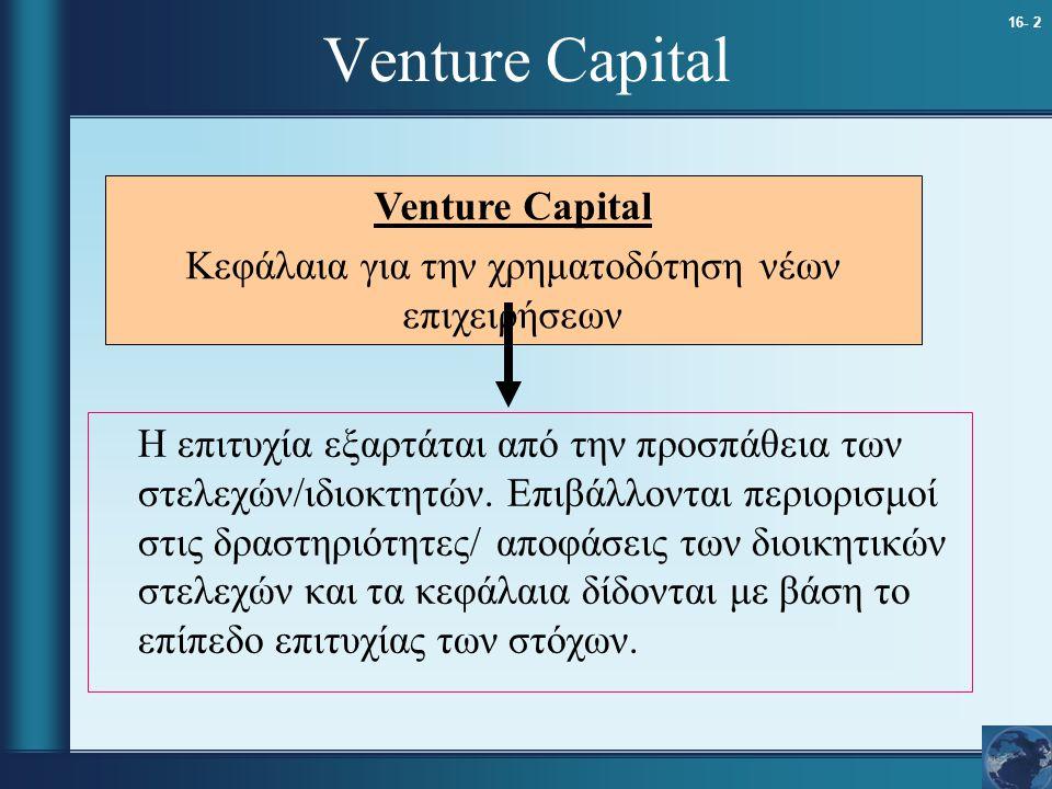 16- 2 Venture Capital Η επιτυχία εξαρτάται από την προσπάθεια των στελεχών/ιδιοκτητών. Επιβάλλονται περιορισμοί στις δραστηριότητες/ αποφάσεις των διο
