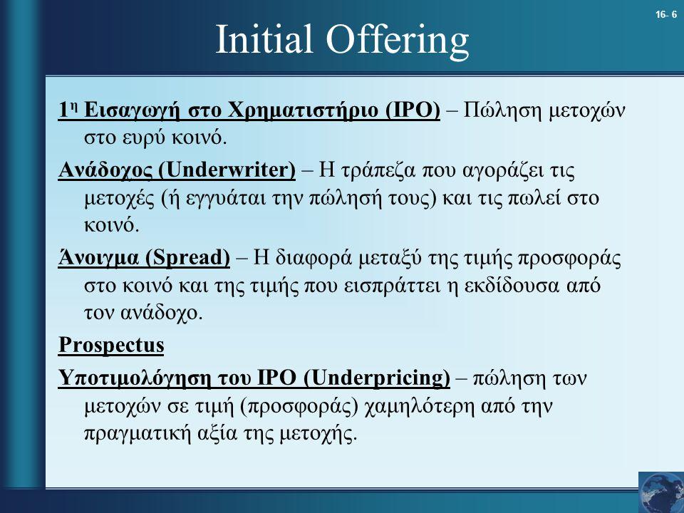 16- 6 Initial Offering 1 η Εισαγωγή στο Χρηματιστήριο (IPO) – Πώληση μετοχών στο ευρύ κοινό. Ανάδοχος (Underwriter) – Η τράπεζα που αγοράζει τις μετοχ