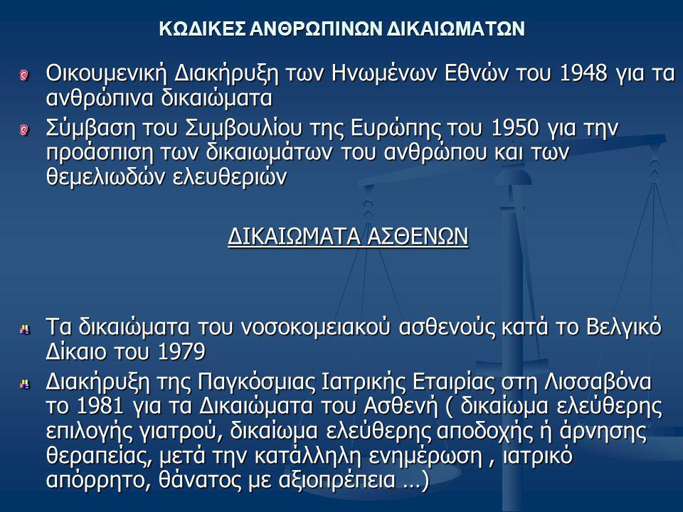 ΚΩΔΙΚΕΣ ΑΝΘΡΩΠΙΝΩΝ ΔΙΚΑΙΩΜΑΤΩΝ Οικουμενική Διακήρυξη των Ηνωμένων Εθνών του 1948 για τα ανθρώπινα δικαιώματα Σύμβαση του Συμβουλίου της Ευρώπης του 1950 για την προάσπιση των δικαιωμάτων του ανθρώπου και των θεμελιωδών ελευθεριών ΔΙΚΑΙΩΜΑΤΑ ΑΣΘΕΝΩΝ Τα δικαιώματα του νοσοκομειακού ασθενούς κατά το Βελγικό Δίκαιο του 1979 Διακήρυξη της Παγκόσμιας Ιατρικής Εταιρίας στη Λισσαβόνα το 1981 για τα Δικαιώματα του Ασθενή ( δικαίωμα ελεύθερης επιλογής γιατρού, δικαίωμα ελεύθερης αποδοχής ή άρνησης θεραπείας, μετά την κατάλληλη ενημέρωση, ιατρικό απόρρητο, θάνατος με αξιοπρέπεια …)