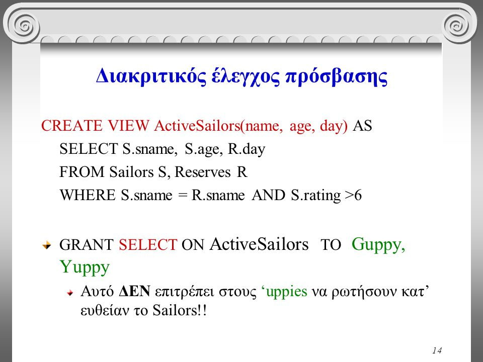 14 Διακριτικός έλεγχος πρόσβασης CREATE VIEW ActiveSailors(name, age, day) AS SELECT S.sname, S.age, R.day FROM Sailors S, Reserves R WHERE S.sname = R.sname AND S.rating >6 GRANT SELECT ON ActiveSailors TO Guppy, Yuppy Αυτό ΔΕΝ επιτρέπει στους 'uppies να ρωτήσουν κατ' ευθείαν το Sailors!!