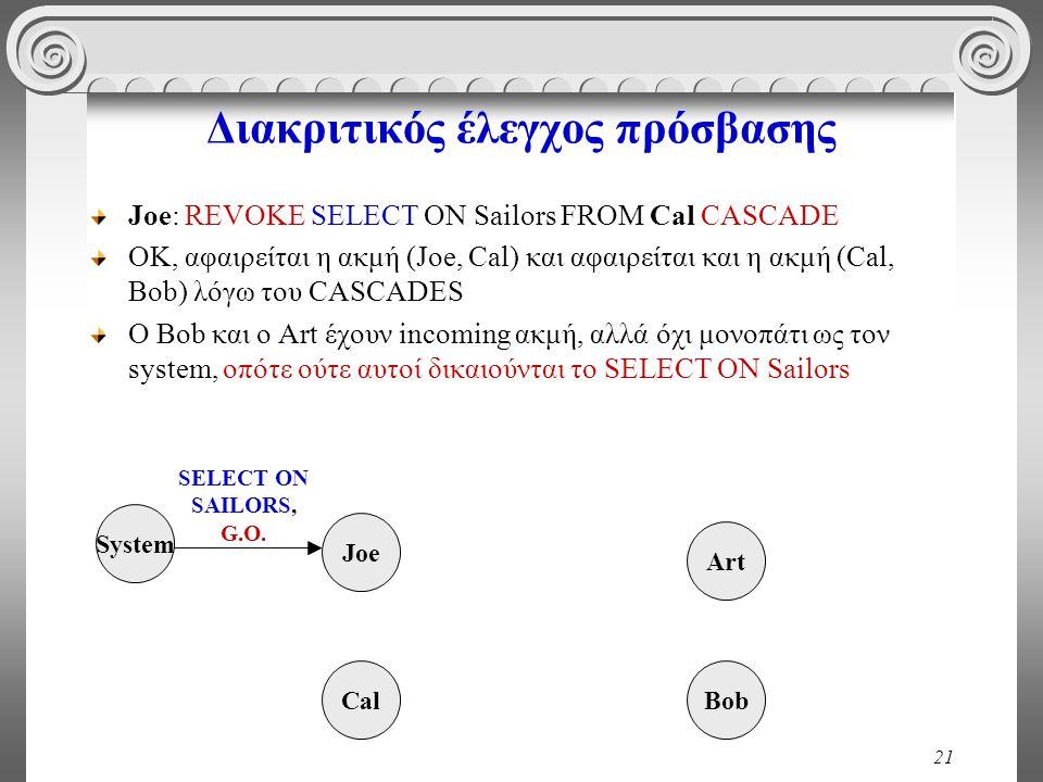 21 Διακριτικός έλεγχος πρόσβασης Joe: REVOKE SELECT ON Sailors FROM Cal CASCADE OK, αφαιρείται η ακμή (Joe, Cal) και αφαιρείται και η ακμή (Cal, Bob) λόγω του CASCADES O Bob και ο Art έχουν incoming ακμή, αλλά όχι μονοπάτι ως τον system, οπότε ούτε αυτοί δικαιούνται το SELECT ON Sailors System Cal Joe Bob Art SELECT ON SAILORS, G.O.