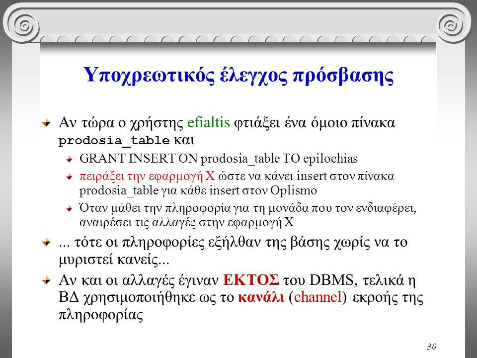 30 Υποχρεωτικός έλεγχος πρόσβασης Αν τώρα ο χρήστης efialtis φτιάξει ένα όμοιο πίνακα prodosia_table και GRANT INSERT ON prodosia_table TO epilochias πειράξει την εφαρμογή Χ ώστε να κάνει insert στον πίνακα prodosia_table για κάθε insert στον Oplismo Όταν μάθει την πληροφορία για τη μονάδα που τον ενδιαφέρει, αναιρέσει τις αλλαγές στην εφαρμογή Χ...