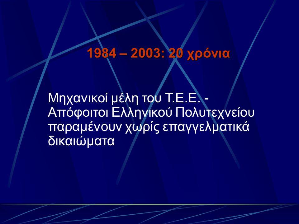 1984 – 2003: 20 χρόνια Μηχανικοί μέλη του Τ.Ε.Ε. - Απόφοιτοι Ελληνικού Πολυτεχνείου παραμένουν χωρίς επαγγελματικά δικαιώματα
