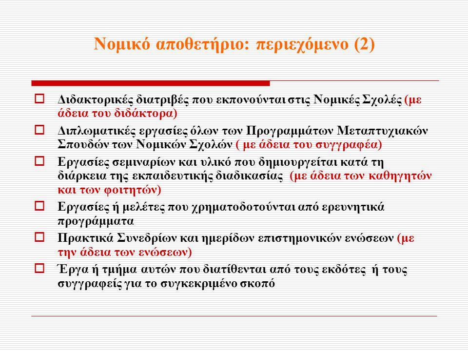 Νομικό αποθετήριο: περιεχόμενο (2)  Διδακτορικές διατριβές που εκπονούνται στις Νομικές Σχολές (με άδεια του διδάκτορα)  Διπλωματικές εργασίες όλων