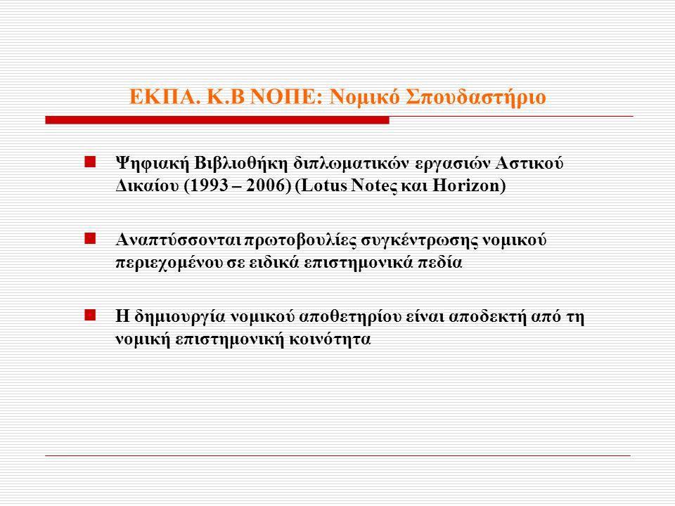 ΕΚΠΑ. Κ.Β ΝΟΠΕ: Νομικό Σπουδαστήριο  Ψηφιακή Βιβλιοθήκη διπλωματικών εργασιών Αστικού Δικαίου (1993 – 2006) (Lotus Noteς και Horizon)  Αναπτύσσονται