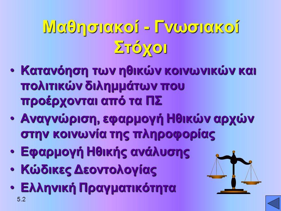Δικαιώματα ιδοκτησίας Πνευματική ιδιοκτησία: πνευματικές - μη υλικές - δημιουργίες προστατεύονται από το νόμο Εμπορικό Απόρρητο: πνευματική εργασία ή προϊόν που ανήκει σε νομικό πρόσωπο © Δικαίωμα Δημιουργού : προστασία από αντι- γραφή πνευματικής ιδιοκτησίας (ΗΠΑ) 28 έτη Ελλάδα: 5.13