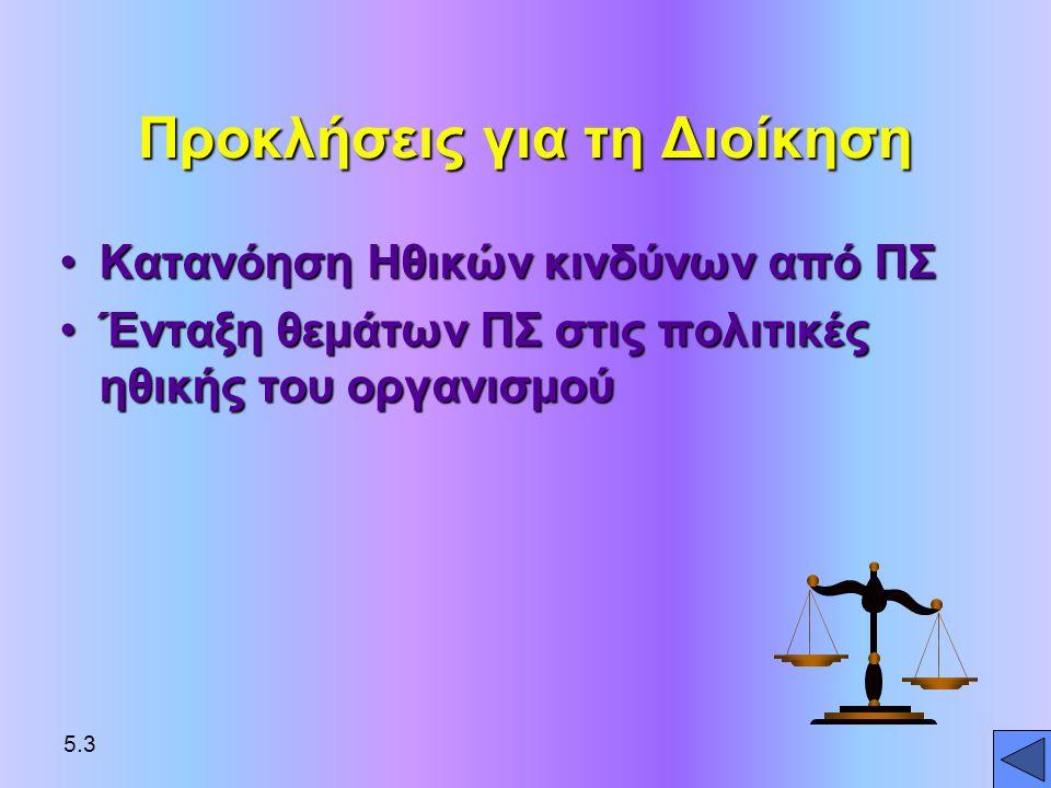 ΗΘΙΚΗ •Αρχές διάκρισης του Καλού και του Κακού που χρησιμοποιούνται από άτομα που δρουν ως ελεύθεροι φορείς της ηθικής με σκοπό να καθοδηγούν τη συμπεριφορά 5.4