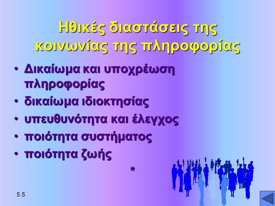 •Δικαίωμα και υποχρέωση πληροφορίας •δικαίωμα ιδιοκτησίας •υπευθυνότητα και έλεγχος •ποιότητα συστήματος •ποιότητα ζωής * Ηθικές διαστάσεις της κοινων