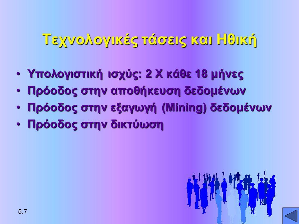 Τεχνολογικές τάσεις και Ηθική •Υπολογιστική ισχύς: 2 Χ κάθε 18 μήνες •Πρόοδος στην αποθήκευση δεδομένων •Πρόοδος στην εξαγωγή (Mining) δεδομένων •Πρόο