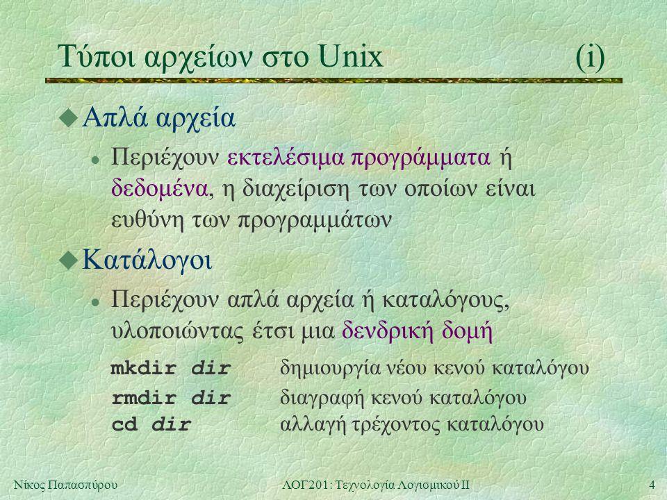 5Νίκος ΠαπασπύρουΛΟΓ201: Τεχνολογία Λογισμικού ΙΙ Τύποι αρχείων στο Unix(ii) u Συμβολικοί σύνδεσμοι l Είναι δείκτες σε αρχεία ή καταλόγους u Διασωληνώσεις l Χρησιμοποιούνται ως προσωρινός αποθηκευτικός χώρος για την επικοινωνία μεταξύ διεργασιών u Συσκευές l Αναπαριστούν συσκευές που μεταδίδουν δεδομένα είτε ένα χαρακτήρα τη φορά, είτε ένα μπλοκ τη φορά