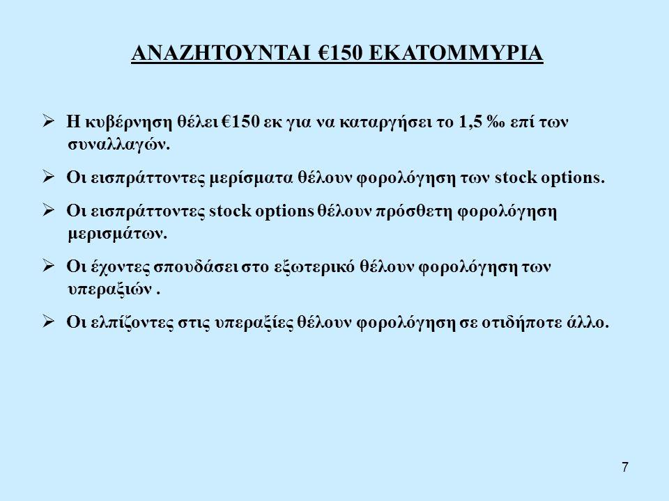 ΑΝΑΖΗΤΟΥΝΤΑΙ €150 ΕΚΑΤΟΜΜΥΡΙΑ  Η κυβέρνηση θέλει €150 εκ για να καταργήσει το 1,5 ‰ επί των συναλλαγών.  Οι εισπράττοντες μερίσματα θέλουν φορολόγησ