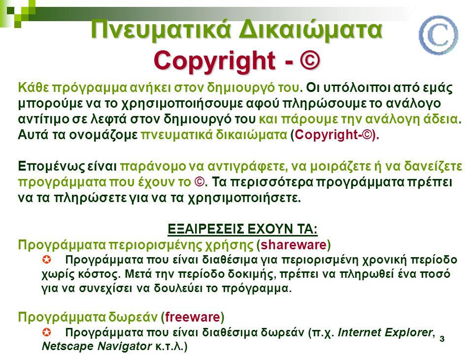 3 Πνευματικά Δικαιώματα Copyright - © Κάθε πρόγραμμα ανήκει στον δημιουργό του. Οι υπόλοιποι από εμάς μπορούμε να το χρησιμοποιήσουμε αφού πληρώσουμε