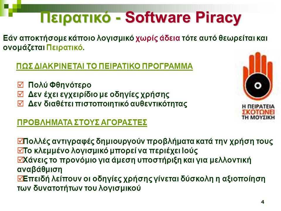 4 Πειρατικό - Software Piracy Εάν αποκτήσομε κάποιο λογισμικό χωρίς άδεια τότε αυτό θεωρείται και ονομάζεται Πειρατικό. ΠΩΣ ΔΙΑΚΡΙΝΕΤΑΙ ΤΟ ΠΕΙΡΑΤΙΚΟ Π