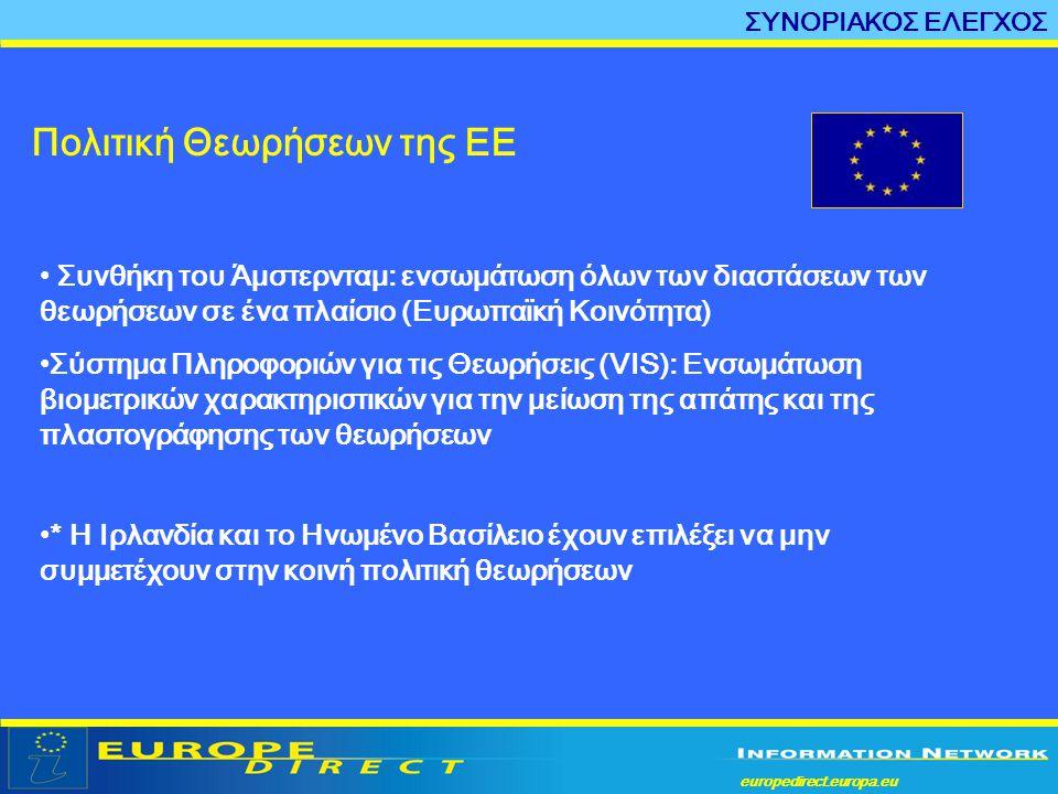 europedirect.europa.eu a Πολιτική Θεωρήσεων της ΕΕ ΣΥΝΟΡΙΑΚΟΣ ΕΛΕΓΧΟΣ • Συνθήκη του Άμστερνταμ: ενσωμάτωση όλων των διαστάσεων των θεωρήσεων σε ένα πλ
