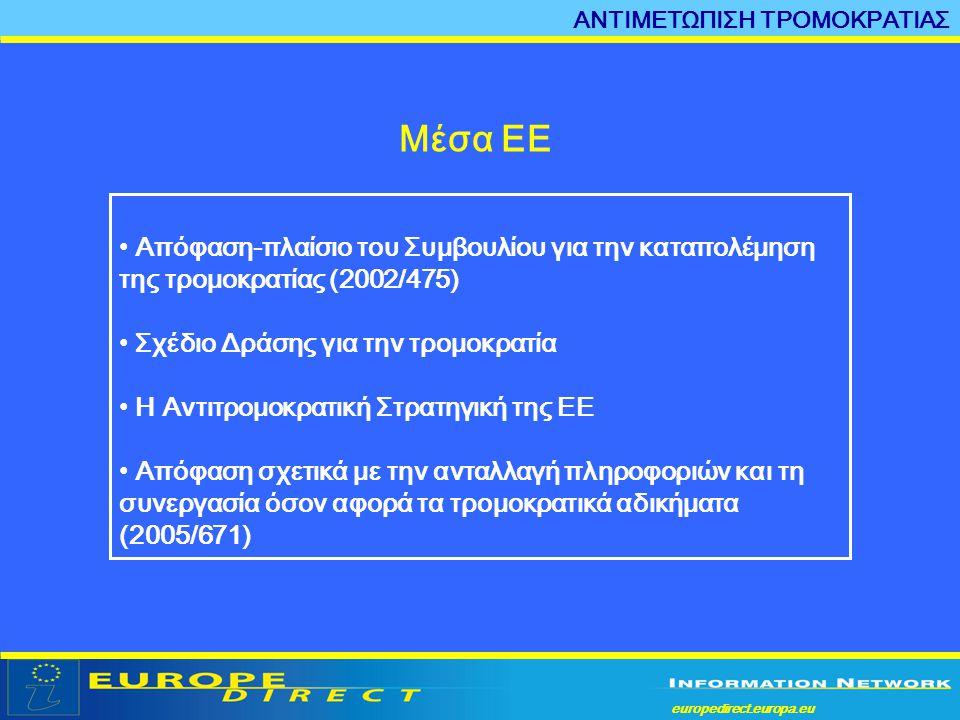 europedirect.europa.eu a Μέσα ΕΕ • Απόφαση-πλαίσιο του Συμβουλίου για την καταπολέμηση της τρομοκρατίας (2002/475) • Σχέδιο Δράσης για την τρομοκρατία