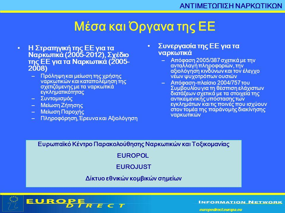 europedirect.europa.eu a •Η Στρατηγική της ΕΕ για τα Ναρκωτικά (2005-2012), Σχέδιο της ΕΕ για τα Ναρκωτικά (2005- 2008) –Πρόληψη και μείωση της χρήσης