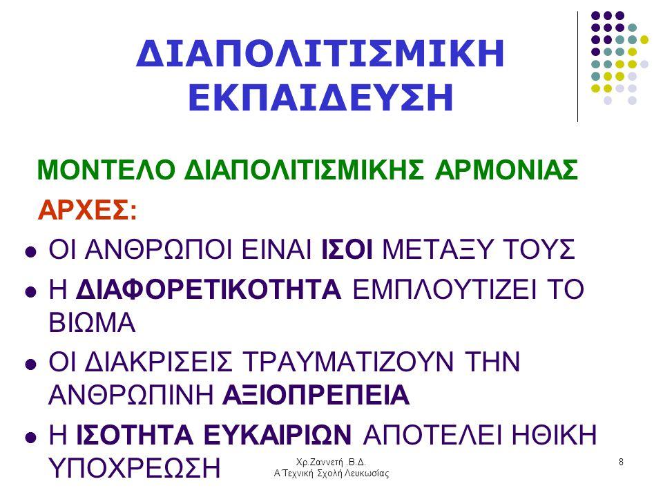 Χρ.Ζαννετή.Β.Δ. Α΄Τεχνική Σχολή Λευκωσίας 8 ΔΙΑΠΟΛΙΤΙΣΜΙΚΗ ΕΚΠΑΙΔΕΥΣΗ ΜΟΝΤΕΛΟ ΔΙΑΠΟΛΙΤΙΣΜΙΚΗΣ ΑΡΜΟΝΙΑΣ ΑΡΧΕΣ:  ΟΙ ΑΝΘΡΩΠΟΙ ΕΙΝΑΙ ΙΣΟΙ ΜΕΤΑΞΥ ΤΟΥΣ  Η