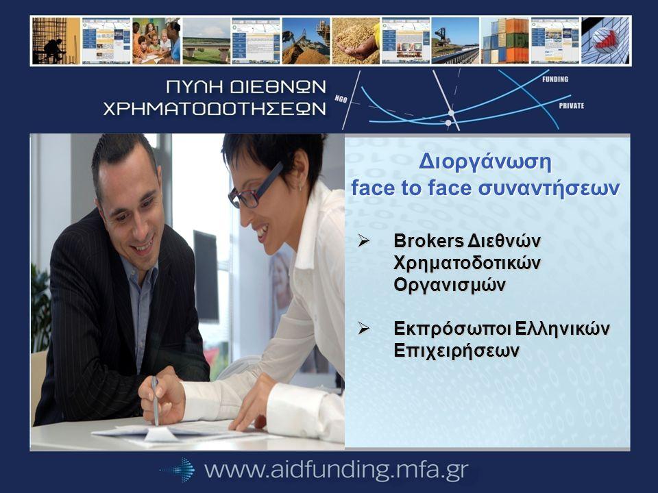 Διoργάνωση face to face συναντήσεων  Brokers Διεθνών Χρηματοδοτικών Οργανισμών  Εκπρόσωποι Ελληνικών Επιχειρήσεων