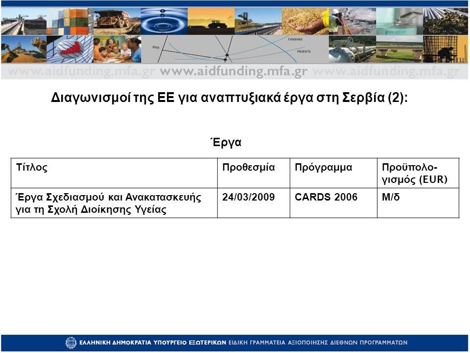 ΤίτλοςΠροθεσμίαΠρόγραμμα Προϋπολο - γισμός (EUR) Έργα Σχεδιασμού και Ανακατασκευής για τη Σχολή Διοίκησης Υγείας 24/03/2009CARDS 2006Μ/δ Έργα Διαγωνισμοί της ΕΕ για αναπτυξιακά έργα στη Σερβία (2):