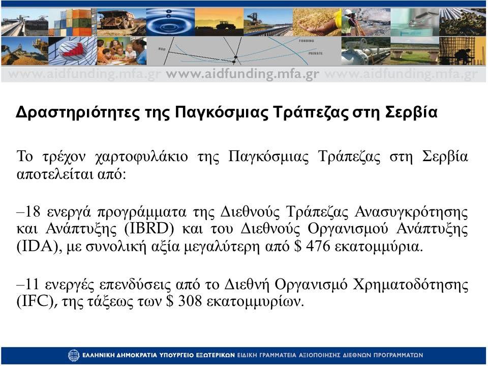 Το τρέχον χαρτοφυλάκιο της Παγκόσμιας Τράπεζας στη Σερβία αποτελείται από : –18 ενεργά προγράμματα της Διεθνούς Τράπεζας Ανασυγκρότησης και Ανάπτυξης (IBRD) και του Διεθνούς Οργανισμού Ανάπτυξης (IDA), με συνολική αξία μεγαλύτερη από $ 476 εκατομμύρια.