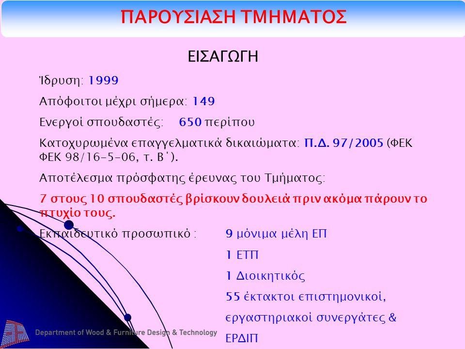 ΠΑΡΟΥΣΙΑΣΗ ΤΜΗΜΑΤΟΣ ΕΙΣΑΓΩΓΗ Ίδρυση: 1999 Απόφοιτοι μέχρι σήμερα: 149 Ενεργοί σπουδαστές: 650 περίπου Κατοχυρωμένα επαγγελματικά δικαιώματα: Π.Δ.