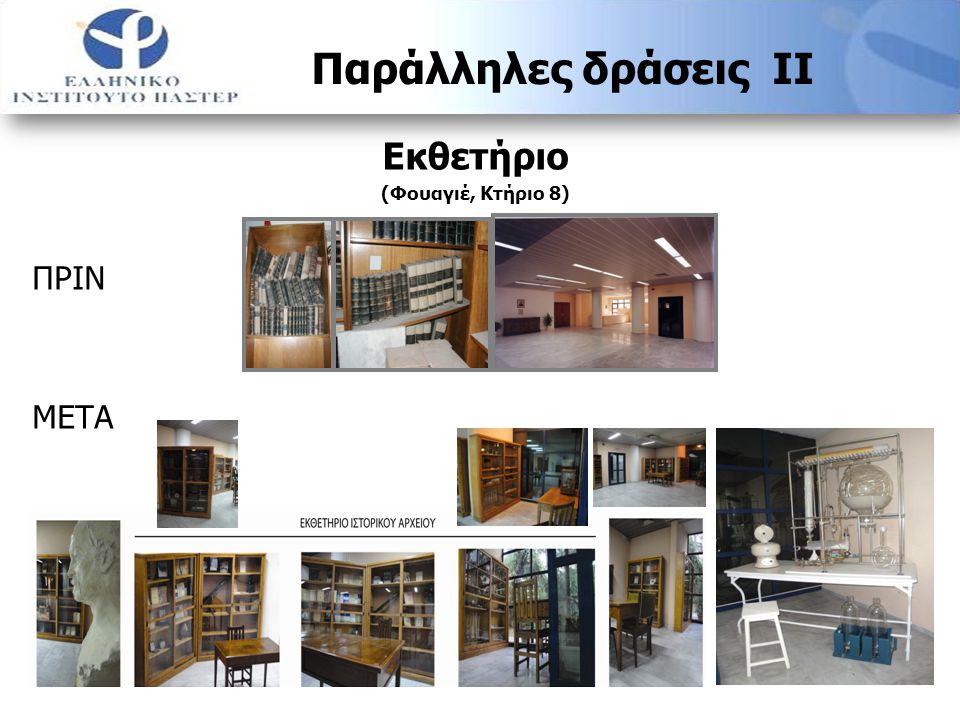Χώρος διατήρησης αρχείων (Υπόγειο -2, κτήριο 8) ΠΡΙΝ ΚΑΤΑ ΤΗ ΔΙΑΡΚΕΙΑ ΜΕΤΑ Παράλληλες δράσεις ΙΙΙ
