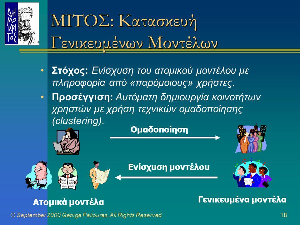 © September 2000 George Paliouras, All Rights Reserved18 ΜΙΤΟΣ: Κατασκευή Γενικευμένων Μοντέλων •Στόχος: Ενίσχυση του ατομικού μοντέλου με πληροφορία από «παρόμοιους» χρήστες.