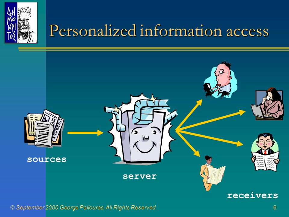 © September 2000 George Paliouras, All Rights Reserved6 Personalized information access sources server receivers