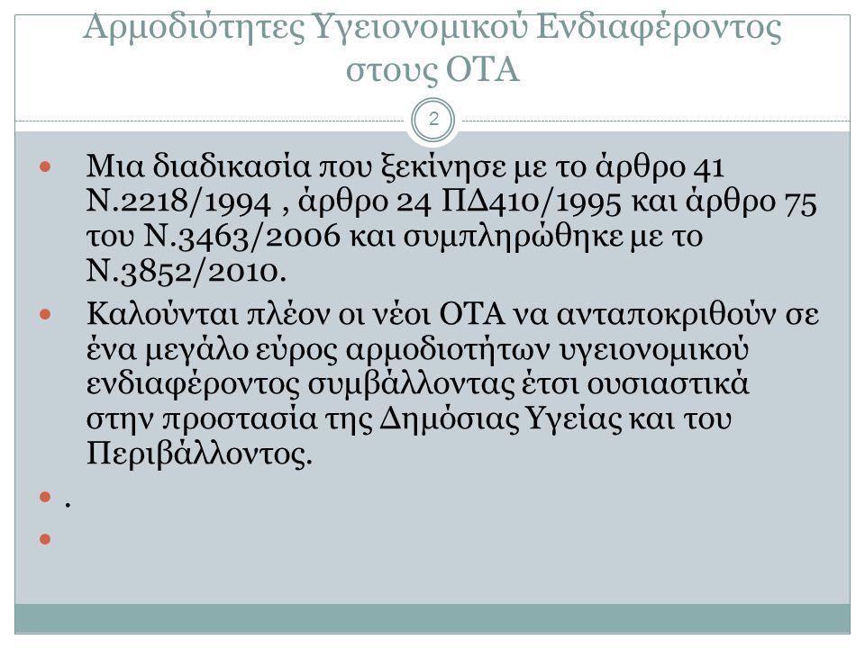 Αρμοδιότητες Υγειονομικού Ενδιαφέροντος στους ΟΤΑ 2  Μια διαδικασία που ξεκίνησε με το άρθρο 41 Ν.2218/1994, άρθρο 24 ΠΔ410/1995 και άρθρο 75 του Ν.3463/2006 και συμπληρώθηκε με το Ν.3852/2010.
