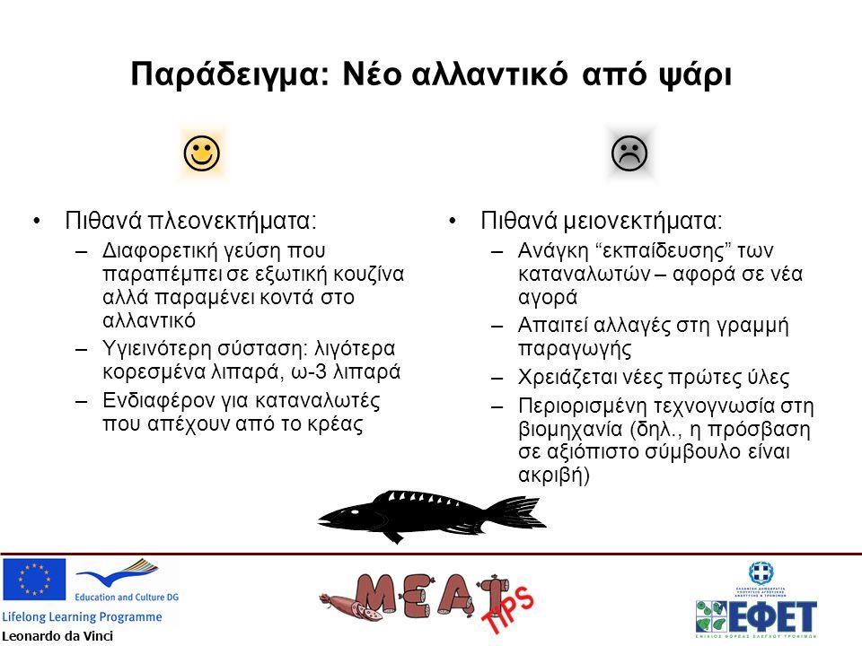 Leonardo da Vinci Παράδειγμα: Νέο αλλαντικό από ψάρι •Πιθανά πλεονεκτήματα: –Διαφορετική γεύση που παραπέμπει σε εξωτική κουζίνα αλλά παραμένει κοντά στο αλλαντικό –Υγιεινότερη σύσταση: λιγότερα κορεσμένα λιπαρά, ω-3 λιπαρά –Ενδιαφέρον για καταναλωτές που απέχουν από το κρέας •Πιθανά μειονεκτήματα: –Ανάγκη εκπαίδευσης των καταναλωτών – αφορά σε νέα αγορά –Απαιτεί αλλαγές στη γραμμή παραγωγής –Χρειάζεται νέες πρώτες ύλες –Περιορισμένη τεχνογνωσία στη βιομηχανία (δηλ., η πρόσβαση σε αξιόπιστο σύμβουλο είναι ακριβή) 