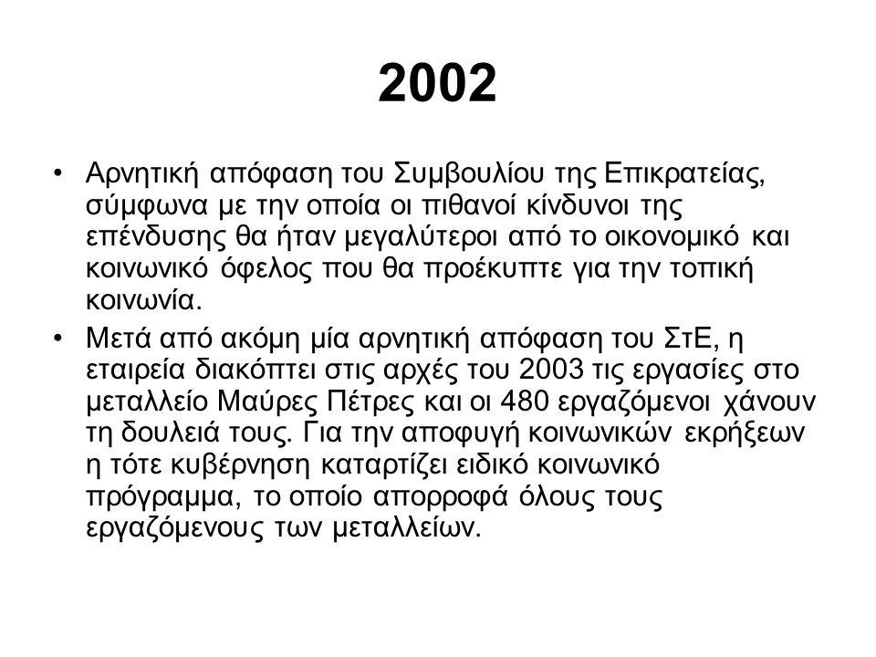 2002 •Αρνητική απόφαση του Συμβουλίου της Επικρατείας, σύμφωνα με την οποία οι πιθανοί κίνδυνοι της επένδυσης θα ήταν μεγαλύτεροι από το οικονομικό και κοινωνικό όφελος που θα προέκυπτε για την τοπική κοινωνία.
