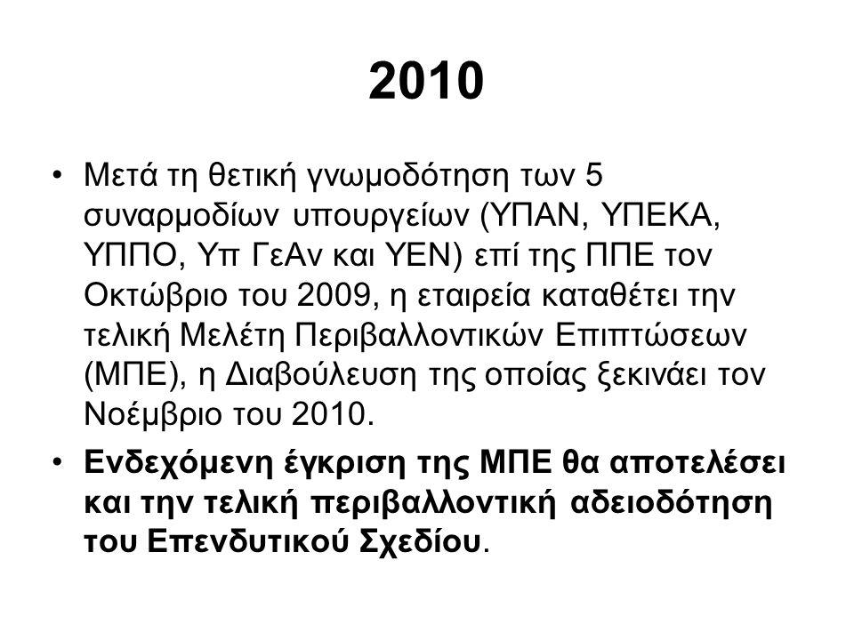 2010 •Μετά τη θετική γνωμοδότηση των 5 συναρμοδίων υπουργείων (ΥΠΑΝ, ΥΠΕΚΑ, ΥΠΠΟ, Υπ ΓεΑν και ΥΕΝ) επί της ΠΠΕ τον Οκτώβριο του 2009, η εταιρεία καταθέτει την τελική Μελέτη Περιβαλλοντικών Επιπτώσεων (ΜΠΕ), η Διαβούλευση της οποίας ξεκινάει τον Νοέμβριο του 2010.