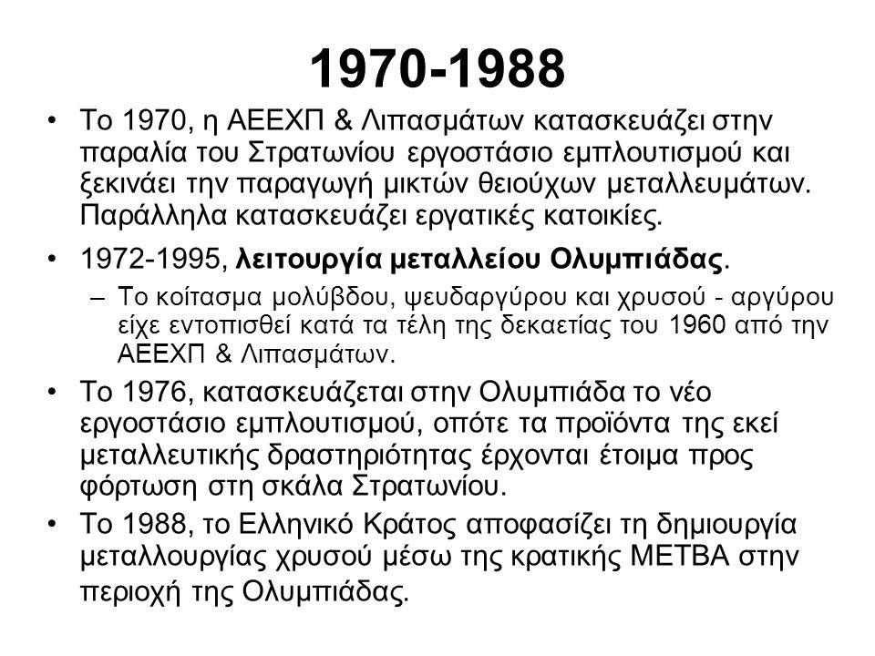 1970-1988 •Το 1970, η ΑΕΕΧΠ & Λιπασμάτων κατασκευάζει στην παραλία του Στρατωνίου εργοστάσιο εμπλουτισμού και ξεκινάει την παραγωγή μικτών θειούχων μεταλλευμάτων.