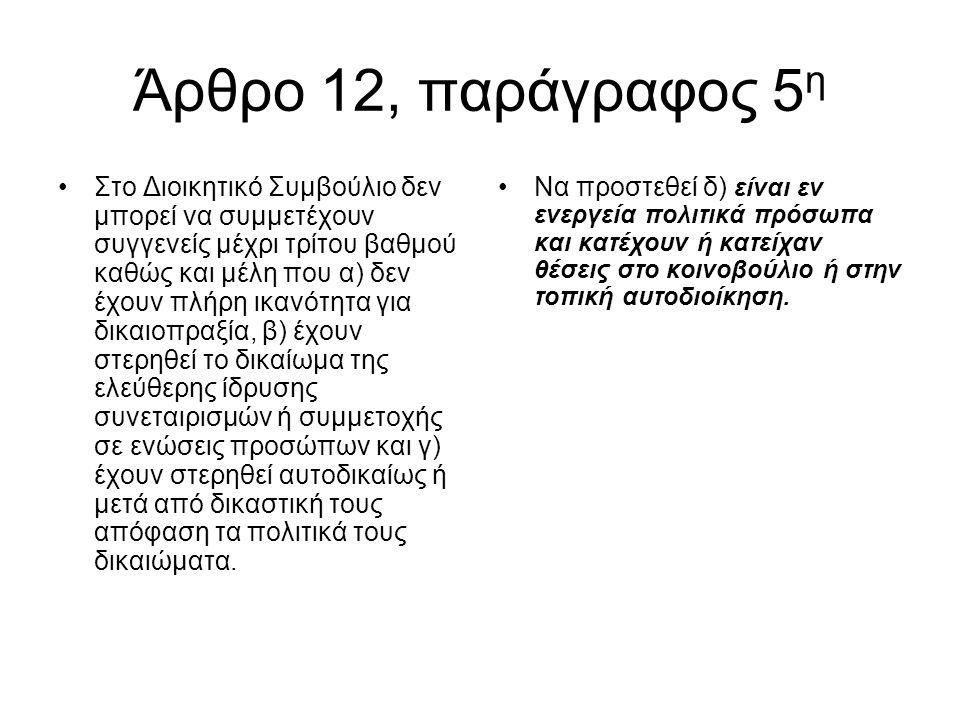 Άρθρο 12, παράγραφος 5 η •Στο Διοικητικό Συμβούλιο δεν μπορεί να συμμετέχουν συγγενείς μέχρι τρίτου βαθμού καθώς και μέλη που α) δεν έχουν πλήρη ικανό
