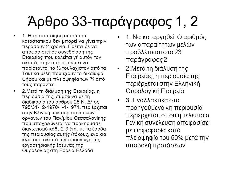 Άρθρο 33-παράγραφος 1, 2 •1. Η τροποποίηση αυτού του καταστατικού δεν μπορεί να γίνει πριν περάσουν 2 χρόνια. Πρέπει δε να αποφασιστεί σε συνεδρίαση τ
