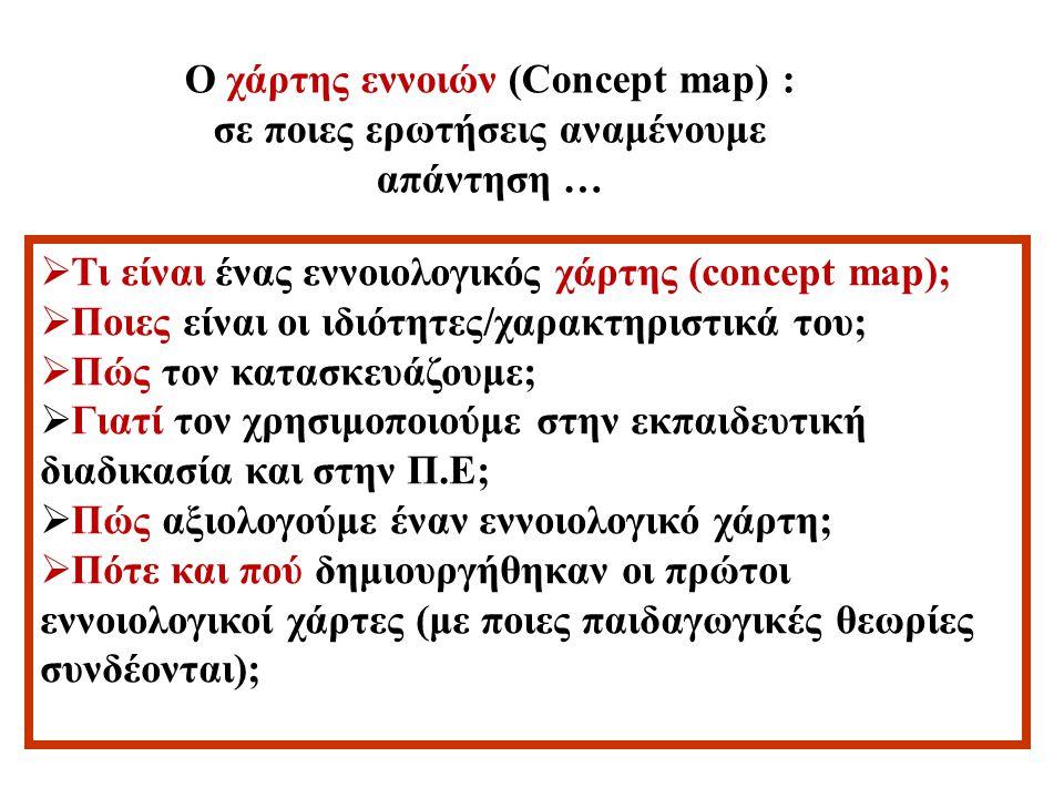Γιατί; Πώς τον κατασκευάζουμε; Τι είναι; Γιατί τους χρησιμοποιού με στην Π.Ε; Εννοιολογικός χάρτης Concept map Γιατί τους χρησιμοποιούμε στη διδακτική πράξη ; Ποιες είναι οι ιδιότητες/ χαρακτηριστικά του ; Πώς τον αξιολογούμε; Πότε και πού δημιουργήθηκαν οι πρώτοι χάρτες ;