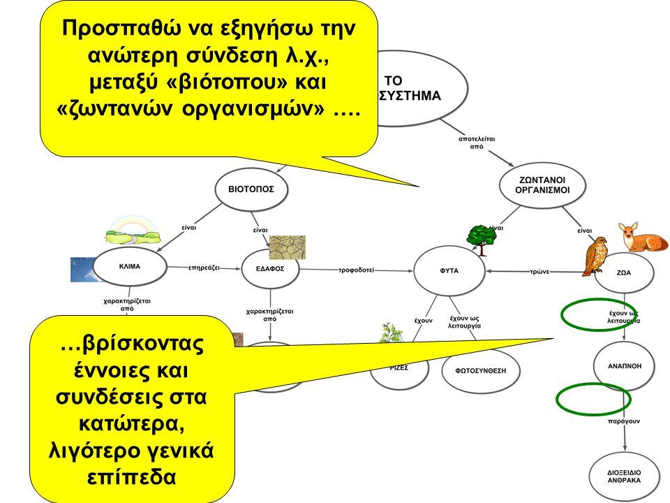 Προσπαθώ να εξηγήσω την ανώτερη σύνδεση λ.χ., μεταξύ «βιότοπου» και «ζωντανών οργανισμών» …. …βρίσκοντας έννοιες και συνδέσεις στα κατώτερα, λιγότερο