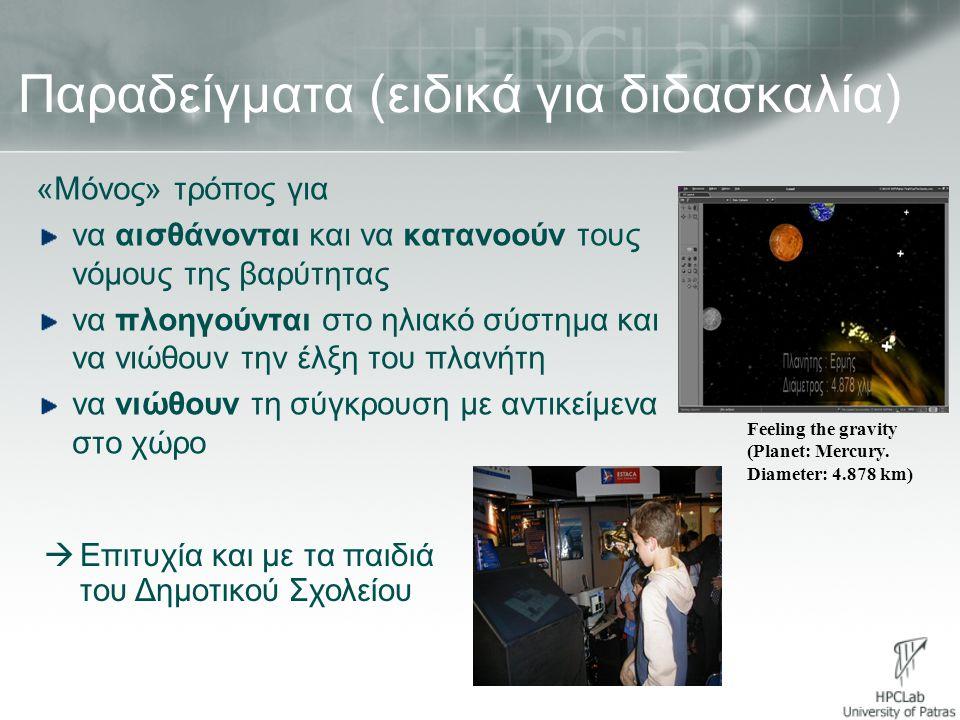 Παραδείγματα (ειδικά για διδασκαλία) «Μόνος» τρόπος για να αισθάνονται και να κατανοούν τους νόμους της βαρύτητας να πλοηγούνται στο ηλιακό σύστημα κα