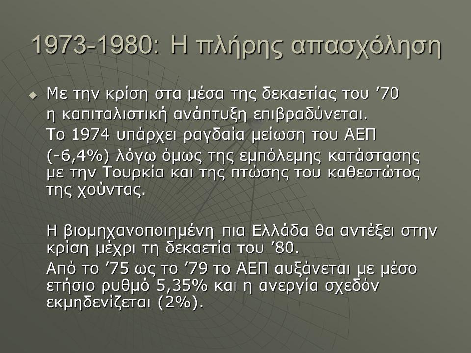 1973-1980: Η πλήρης απασχόληση  Με την κρίση στα μέσα της δεκαετίας του '70 η καπιταλιστική ανάπτυξη επιβραδύνεται.